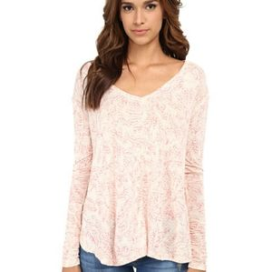 Free people floral long sleeve top size XS